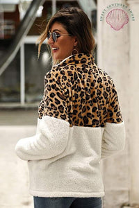 Wildly Popular Sherpa Pullover - Leopard/Cream