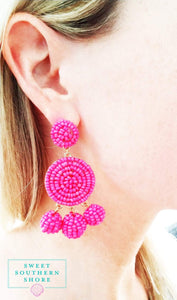 Alexis Earrings- Hot Pink