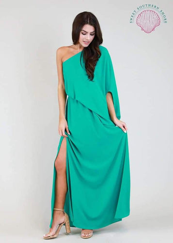 Island Maxi One Shoulder Dress - Green
