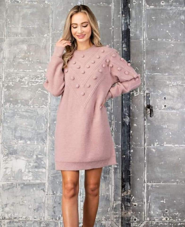 Charmed Outings Sweater Dress - Blush