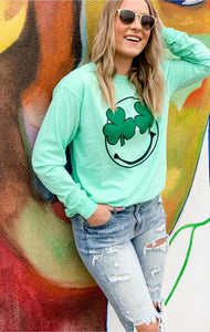 Clover Smiley Long Sleeve Tee