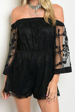 Take Me Out Tonight Lace Romper - Black
