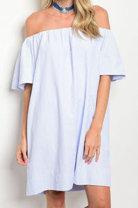 Southern Shore- White and Blue Pin Stripe, Tunic Dress