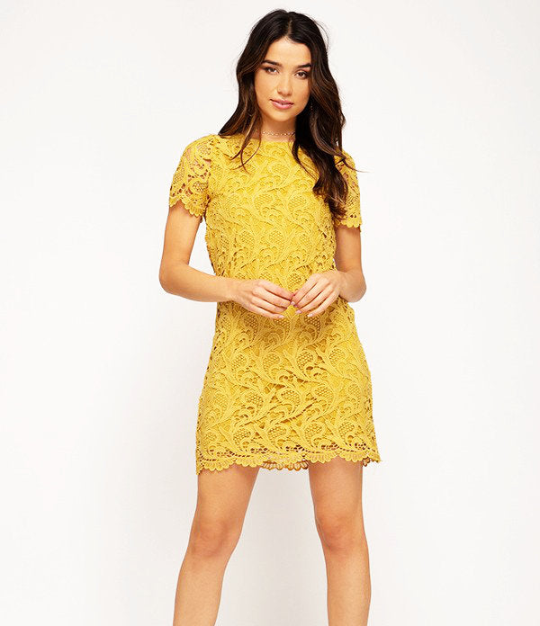 Give Me A Lifetime Lace Dress - Mustard