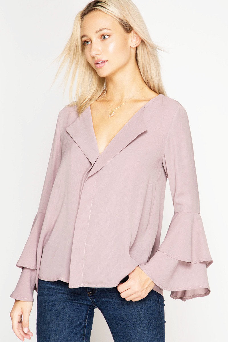 Swept Away Blouse - Rose Mocha