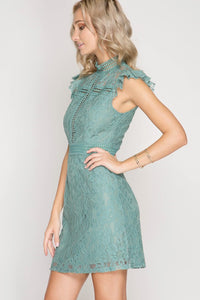 At First Glance Dress - Dusty Slate