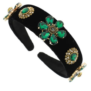 Hunter Green Jeweled Headband - Black Velvet