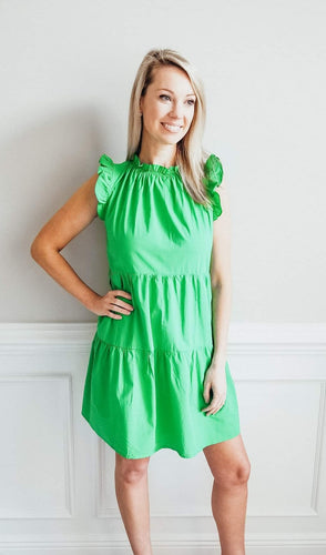 Kelly Green Ruffle Dress