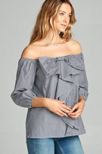 Sweet Talk Off The Shoulder Top - Navy/ Off White