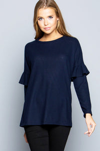 Easy To Love Sweater Top - Navy