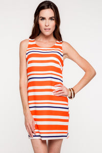 While You Can Striped Dress - Coral & Navy