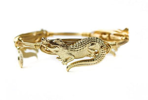 Gold Gator Bangle Bracelet - Standard