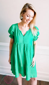 Just Met Button Up Dress - Kelly Green