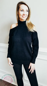 Unforgettable Cold Shoulder Sweater - Black