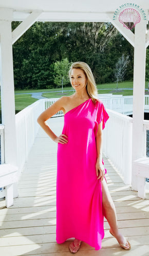 Walk On The Bright Side Maxi Dress - Hot Pink