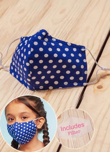 Royal Blue/ Polka Dot + FIlter - Child Size