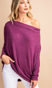 Something Sweet Tunic Sweater Top - Plum