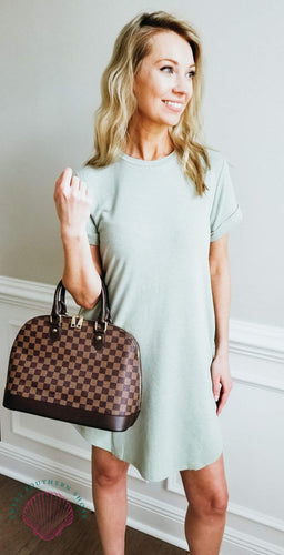 Spring Feels Tshirt Dress - Sage