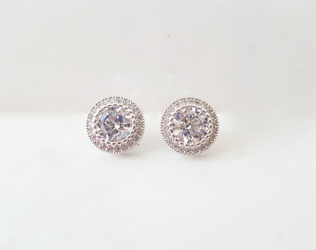 Audrey Round Stud Earrings - Silver