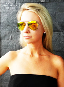 Air Force Aviator Sunglasses - Yellow/Orange