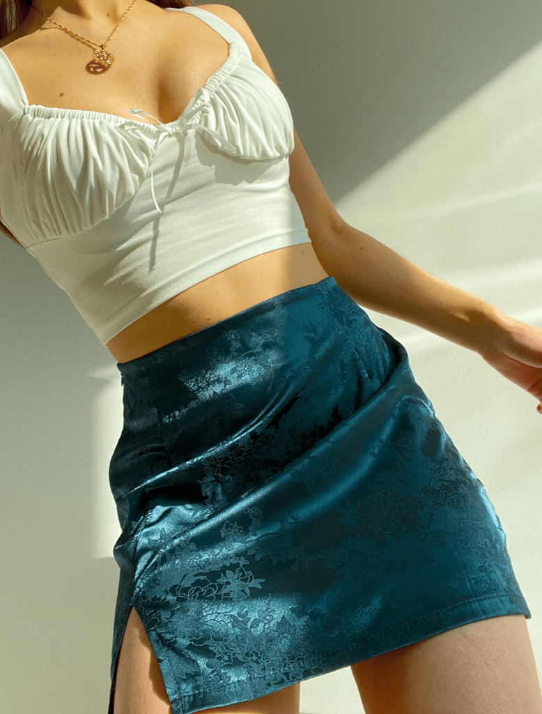 BLOSSOM Satin Mini Skirt in Teal Green WILD PEACH