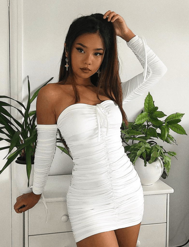 SASHA White Ruched Long Sleeve Bodycon Dress WILD PEACH
