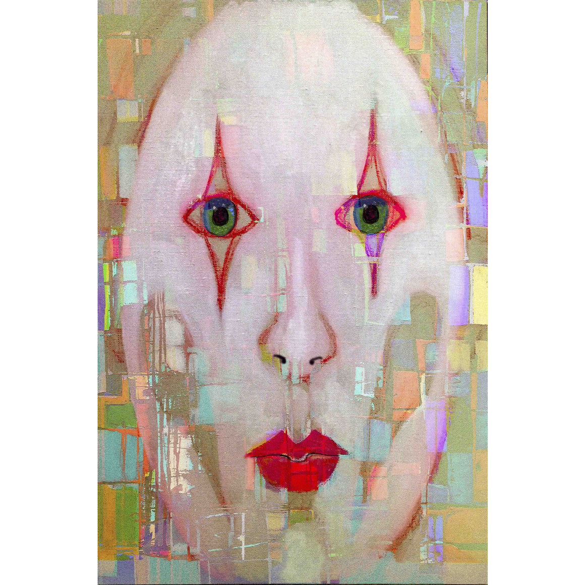 "'Face 11'  Digital Collage Limited Edition Fine Art Painting 40"" x 30"""