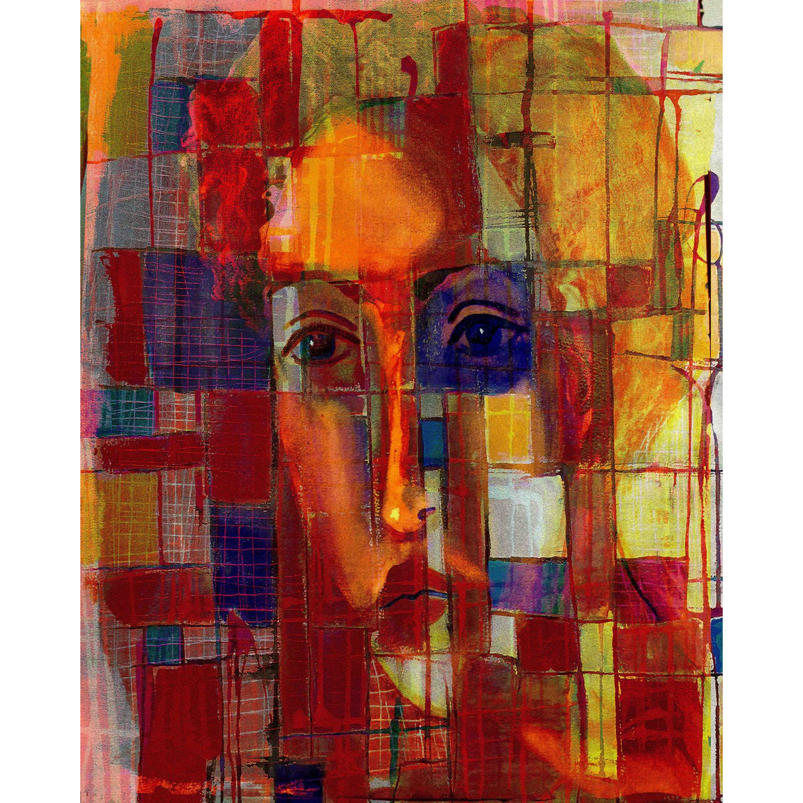 "'Face 7' Digital Collage Limited Edition Fine Art Painting 40"" x 30"""