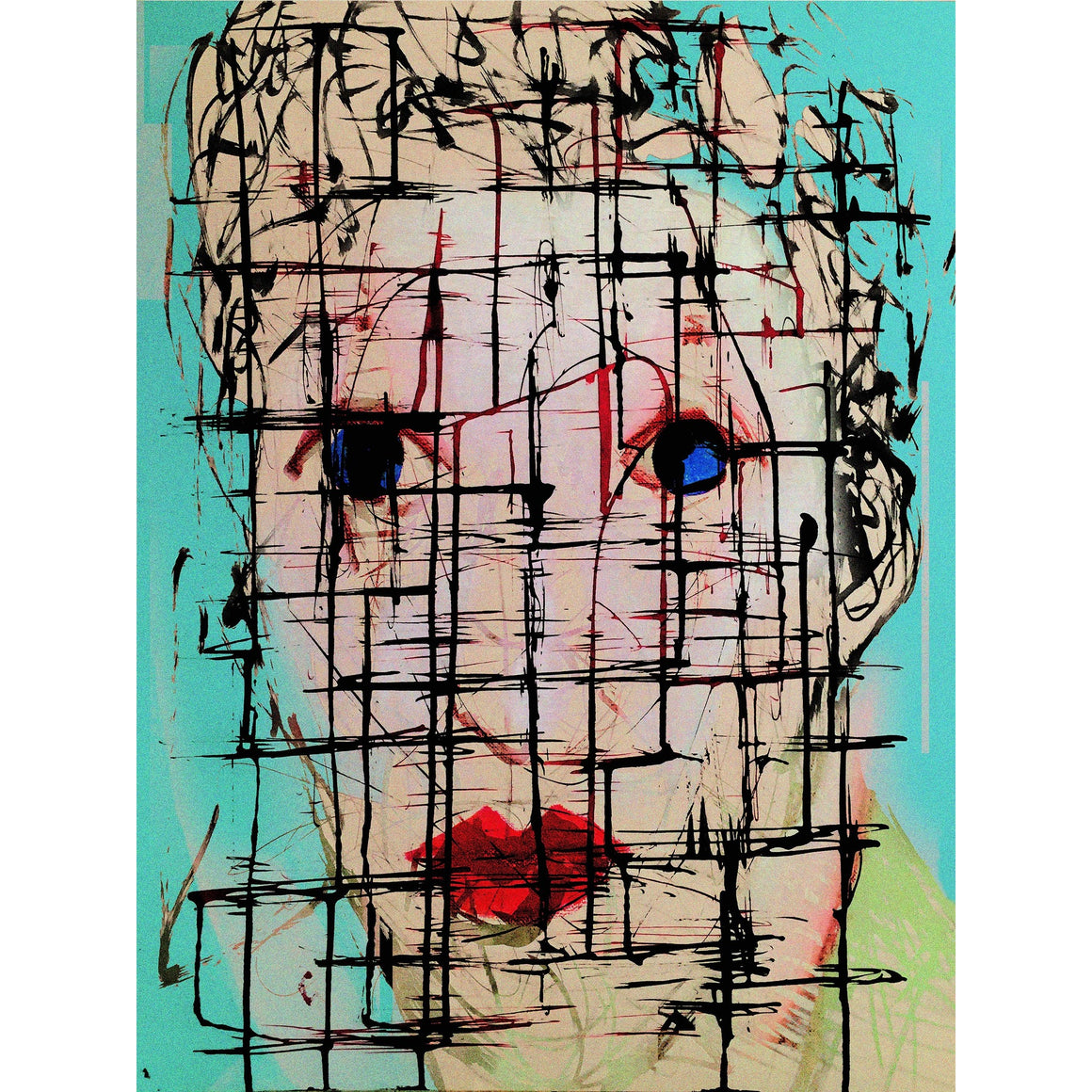 "'Face 2' Digital Collage Limited Edition Fine Art Painting 40"" x 30"""