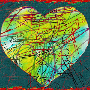 "'Heart Series 5'  Digital Collage Limited Edition Fine Art Painting 24"" x 24"""
