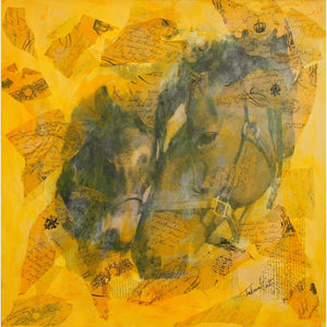 "'Tender Love' Original Art Dreaming of Horses Series Mixed Media Painting 30"" x 30"""