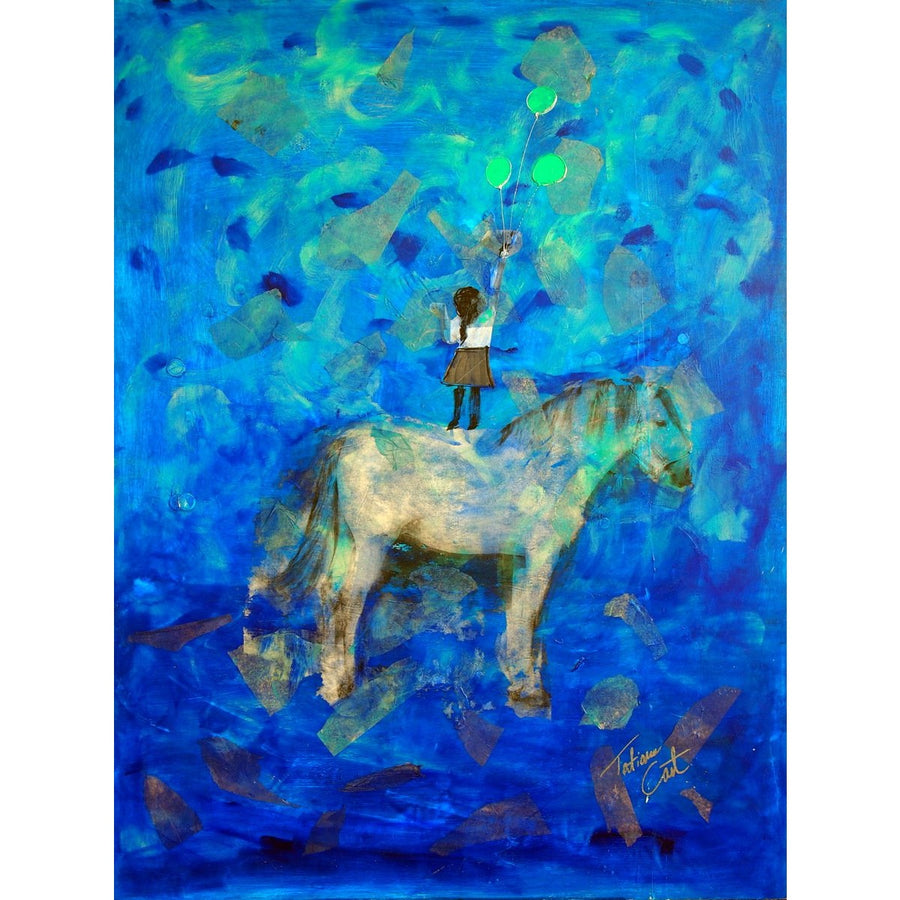 "'Balloon Catcher' Original Art - Horses Series Mixed Media 36"" x 48"""