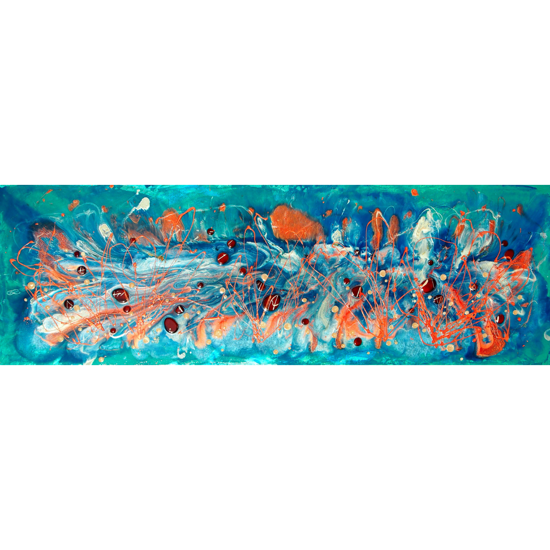 "'Coral Sea' Original Art Sea Song Series Liquid Oil Painting 20"" x 60"""