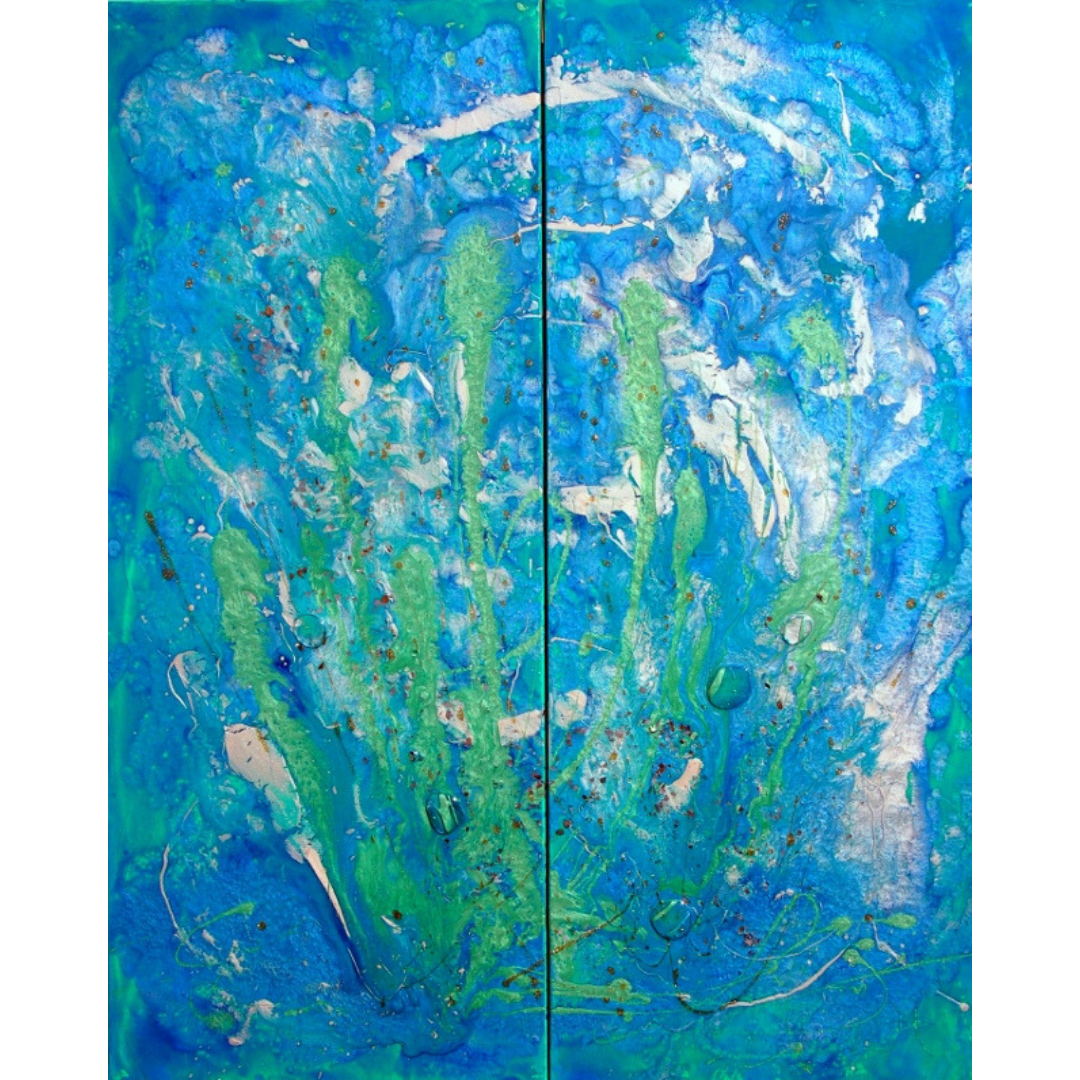 "'Seas Alive' Original Art Sea Song Series Liquid Oil Painting 36"" x 40"" Diptych"