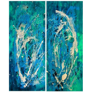 "'Topaz Blue' Original Art Sea Song Series Liquid Oil Painting 32"" x 40"" Diptych"