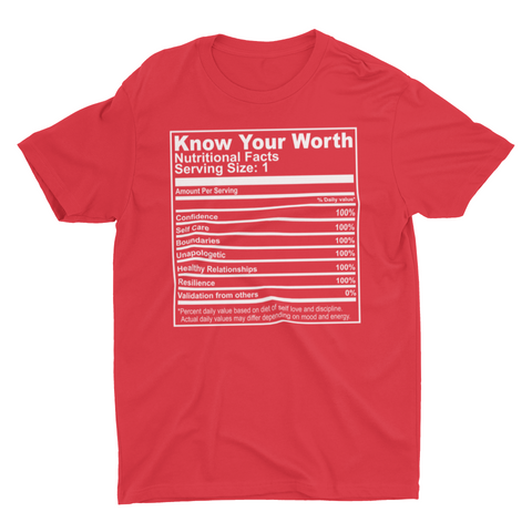 Know Your Worth Nutrition Facts (Red)