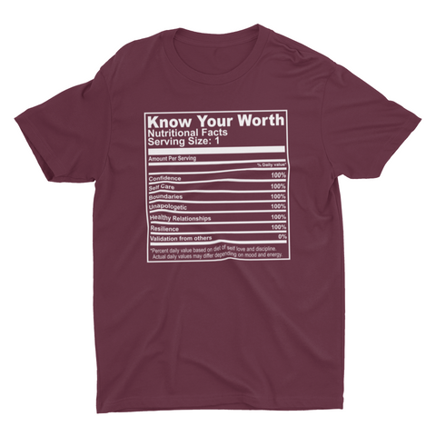 Know Your Worth Nutrition Facts (Maroon)