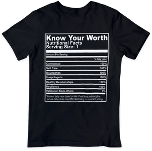 Know Your Worth Nutrition Facts (Black)