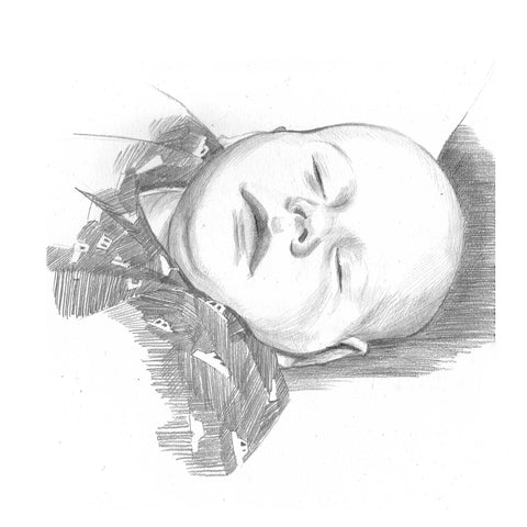 pencil portrait of a sleeping child from life portrait painter