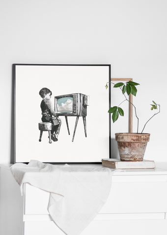 boy with tv print