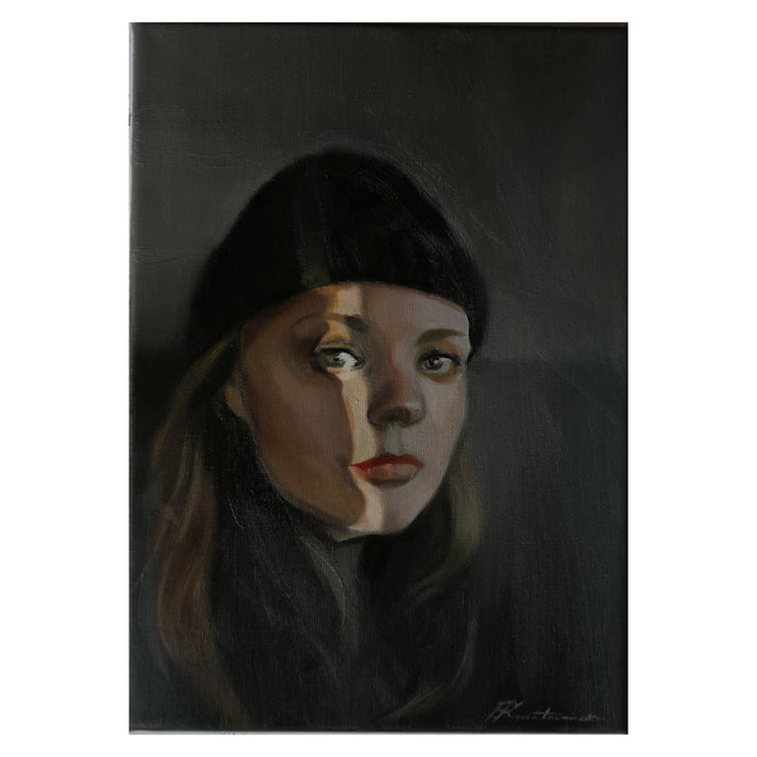 Oil portrait on a rectangle canvas (painted from a photograph)