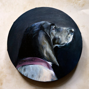 Oil dog portrait on a round canvas