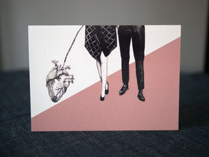 A Walk With a Heart Greeting Card - About Face Illustration