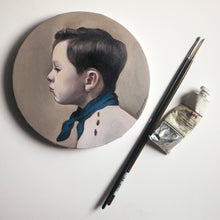 Oil portrait on a round canvas (painted from a photograph) - About Face Illustration