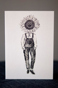 Sunflower Greeting Card - About Face Illustration