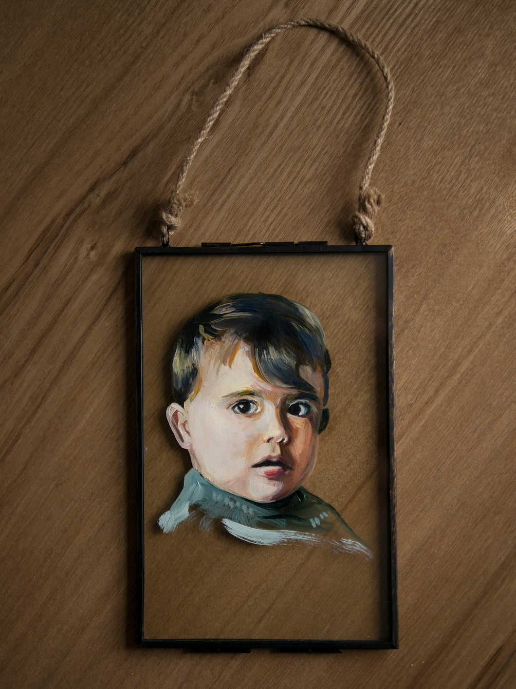 Oil portrait on glass
