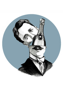 Champagne Lover Fine Art Print - About Face Illustration