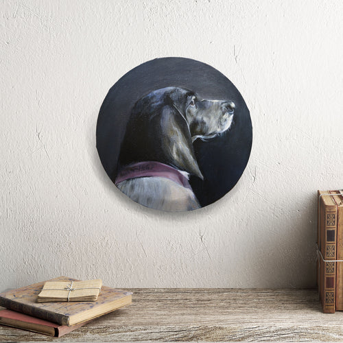 Oil dog portrait on a round canvas - About Face Illustration
