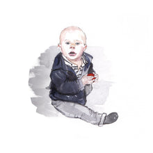 Child illustration in watercolour (painted from a photograph)