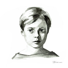 Black and white ink portrait (painted from a photograph) - About Face Illustration